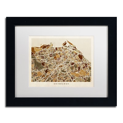 Trademark Fine Art Edinburgh Street Map II by Michael Tompsett 11 x 14 White Matted Black Frame (MT0867-B1114MF)