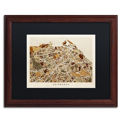 Trademark Fine Art Edinburgh Street Map II by Michael Tompsett 16 x 20 Black Matted Wood Frame (MT0867-W1620BMF)