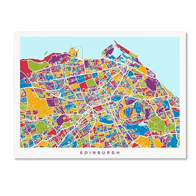 Trademark Fine Art Edinburgh Street Map by Michael Tompsett 35 x 47 Canvas Art (MT0868-C3547GG)