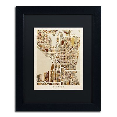 Trademark Fine Art Seattle Washington Street Map II by Michael Tompsett 11 x 14 Black Frame (MT0870-B1114BMF)