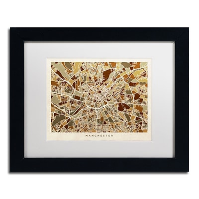 Trademark Fine Art Manchester England Street Map II by Michael Tompsett 11 x 14 Black Frame (MT0872-B1114MF)