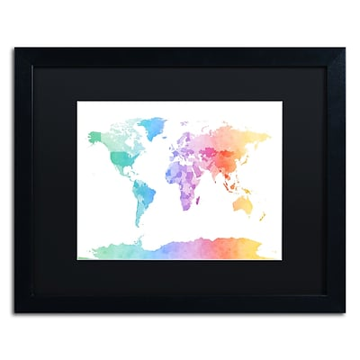 Trademark Fine Art Watercolour Map of the World by Michael Tompsett 16 x 20 Black Matted Black Frame (MT0875-B1620BMF)