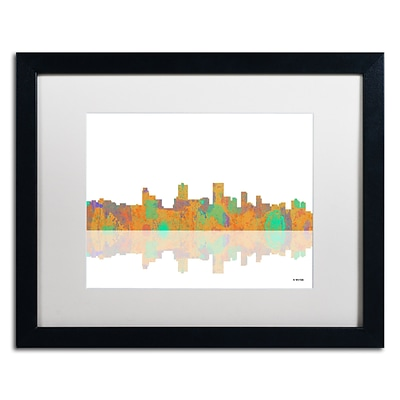 Trademark Fine Art Anchorage Alaska Skyline by Marlene Watson 16 x 20 White Matted Black Frame (MW0037-B1620MF)