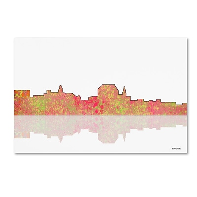 Trademark Fine Art Augusta Maine Skyline by Marlene Watson 30 x 47 Canvas Art (MW0041-C3047GG)