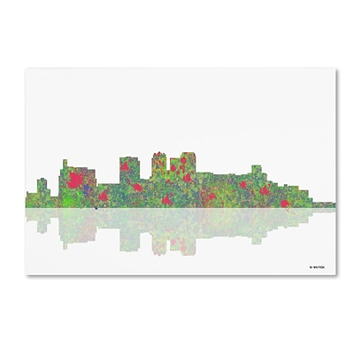 Trademark Fine Art Birmingham Alabama Skyline by Marlene Watson 16 x 24 Canvas Art (MW0043-C1624GG)