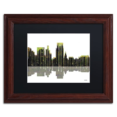 Trademark Fine Art Boise Idaho Skyline by Marlene Watson 11 x 14 Black Matted Wood Frame (MW0046-W1114BMF)