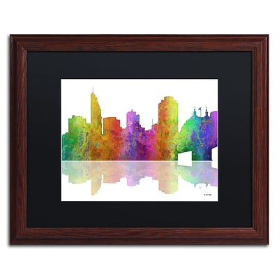Trademark Fine Art Cincinatti Ohio Skyline by Marlene Watson 16 x 20 Black Matted Wood Frame (MW0047-W1620BMF)