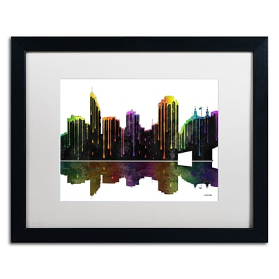 Trademark Fine Art Cincinatti Ohio Skyline by Marlene Watson 16 x 20 White Matted Black Frame (MW0048-B1620MF)