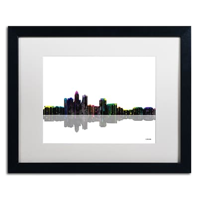 Trademark Fine Art Des Moines Iowa Skyline by Marlene Watson 16 x 20 White Matted Black Frame (MW0050-B1620MF)
