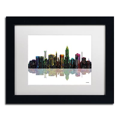 Trademark Fine Art Lincoln Nebraska Skyline by Marlene Watson 11 x 14 White Matted Black Frame (MW0055-B1114MF)