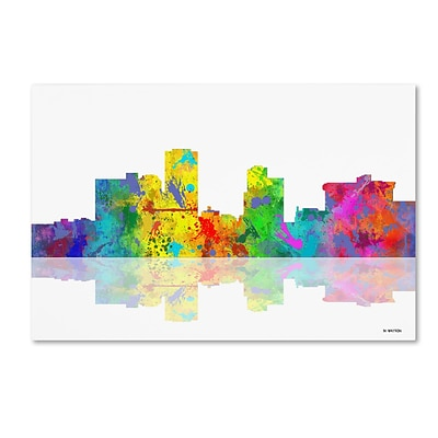 Trademark Fine Art Little Rock Arkansas Skyline by Marlene Watson 12 x 19 Canvas Art (MW0057-C1219GG)