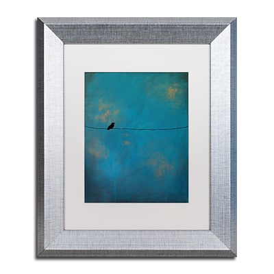 Trademark Fine Art Lone Bird Blue by Nicole Dietz 11 x 14 White Matted Silver Frame (ND073-S1114MF)