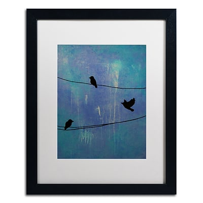Trademark Fine Art Birds Arrival by Nicole Dietz 16 x 20 White Matted Black Frame (ND089-B1620MF)