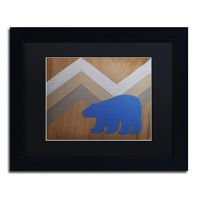 Trademark Fine Art Blue Polar Bear by Nicole Dietz 11 x 14 Black Matted Black Frame (ND091-B1114BMF)