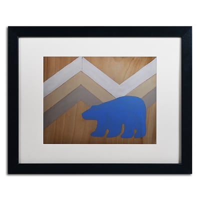 Trademark Fine Art Blue Polar Bear by Nicole Dietz 16 x 20 White Matted Black Frame (ND091-B1620MF)