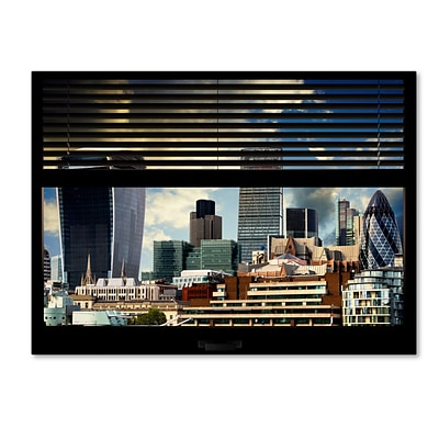 Trademark Fine Art Window View UK Buildings 1 by Philippe Hugonnard 24 x 32 Canvas Art (PH0033-C2432GG)