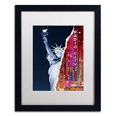 Trademark Fine Art Liberty Night by Philippe Hugonnard 16 x 20 White Matted Black Frame (PH0071-B1620MF)