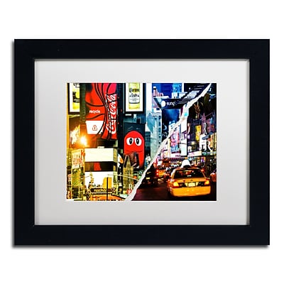Trademark Fine Art Times Square Night by Philippe Hugonnard 11 x 14 White Matted Black Frame (PH0076-B1114MF)