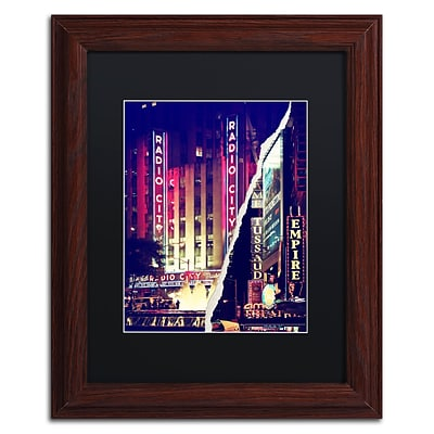 Trademark Fine Art Times Square Theater District by Philippe Hugonnard 11 x 14 Black Matted Wood Frame (PH0089-W1114BMF)