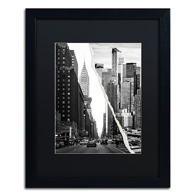 Trademark Fine Art Downtown City by Philippe Hugonnard 16 x 20 Black Matted Black Frame (PH0093-B1620BMF)