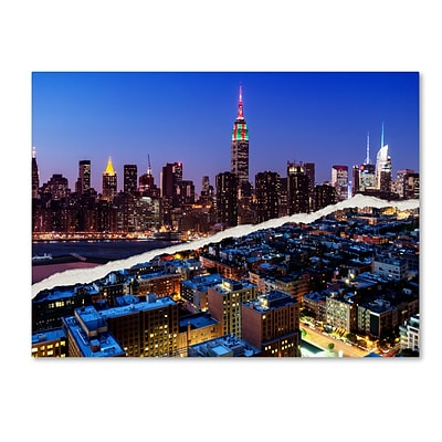 Trademark Fine Art Downtown City at Night by Philippe Hugonnard 14 x 19 Canvas Art (PH0096-C1419GG)