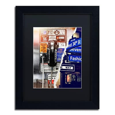 Trademark Fine Art Phone me to New York by Philippe Hugonnard 11 x 14 Black Matted Black Frame (PH0100-B1114BMF)