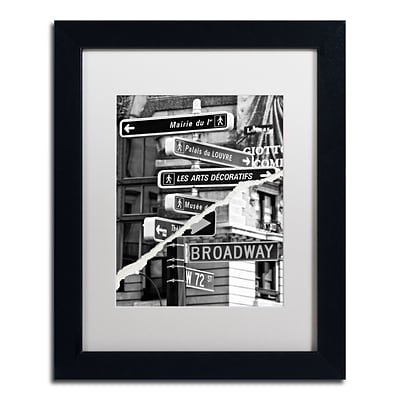Trademark Fine Art The Louvre or Broadway by Philippe Hugonnard 11 x 14 White Matted Black Frame (PH0104-B1114MF)