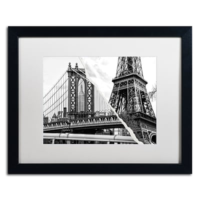 Trademark Fine Art The Tower and the Bridge by Philippe Hugonnard 16 x 20 White Matted Black Frame (PH0116-B1620MF)