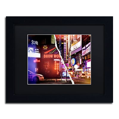 Trademark Fine Art Times Square Show by Philippe Hugonnard 11 x 14 Black Matted Black Frame (PH0119-B1114BMF)