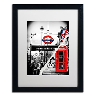 Trademark Fine Art Westminster Station by Philippe Hugonnard 16 x 20 White Matted Black Frame (PH0125-B1620MF)