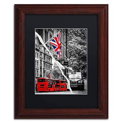 Trademark Fine Art London Bus by Philippe Hugonnard 11 x 14 Black Matted Wood Frame (PH0126-W1114BMF)