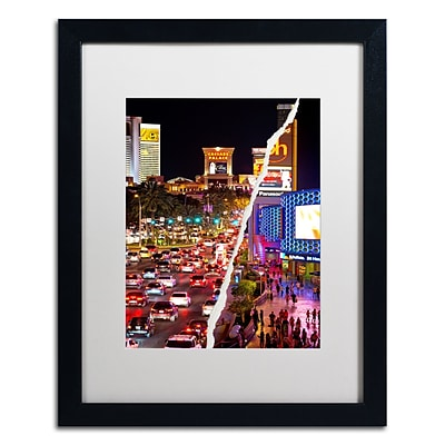 Trademark Fine Art The City of Las Vegas by Philippe Hugonnard 16 x 20 White Matted Black Frame (PH0129-B1620MF)