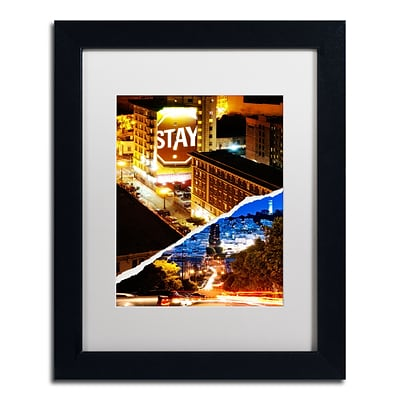 Trademark Fine Art One night in San Francisco by Philippe Hugonnard 11 x 14 White Matted Black Frame (PH0132-B1114MF)