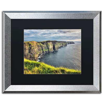 Trademark Fine Art Cliffs of Moher Ireland by Pierre Leclerc 16 x 20 Black Matted Silver Frame (PL0021-S1620BMF)