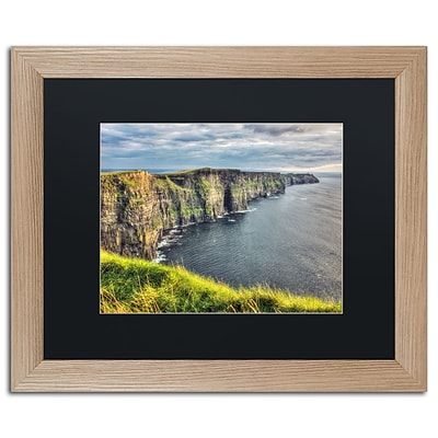 Trademark Fine Art Cliffs of Moher Ireland by Pierre Leclerc 16 x 20 Black Matted Wood Frame (PL0021-T1620BMF)