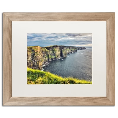 Trademark Fine Art Cliffs of Moher Ireland by Pierre Leclerc 16 x 20 White Matted Wood Frame (PL0021-T1620MF)