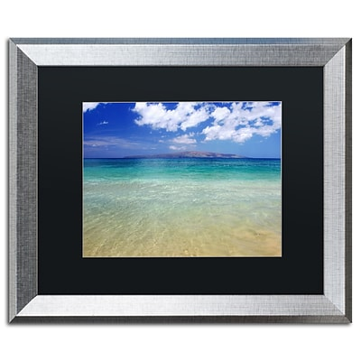 Trademark Fine Art Hawaii Blue Beach by Pierre Leclerc 16 x 20 Black Matted Silver Frame (PL0038-S1620BMF)