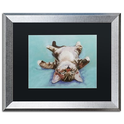 Trademark Fine Art Little Napper by Pat Saunders 16 x 20 Black Matted Silver Frame (PS005-S1620BMF)
