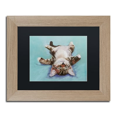 Trademark Fine Art Little Napper by Pat Saunders 11 x 14 Black Matted Wood Frame (PS005-T1114BMF)