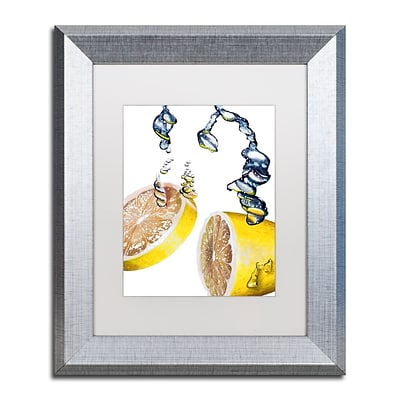 Trademark Fine Art Lemon Splash II by Roderick Stevens 11 x 14 White Matted Silver Frame (RS022-S1114MF)