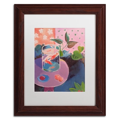 Trademark Fine Art Goldfish by Sheila Golden 11 x 14 White Matted Wood Frame (SG5732-W1114MF)