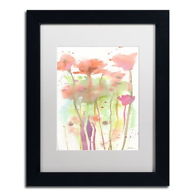 Trademark Fine Art Red Poppy Impressions by Sheila Golden 11 x 14 White Matted Black Frame (SG5735-B1114MF)