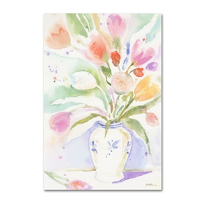 Trademark Fine Art The Vase of Tulips by Sheila Golden 22 x 32 Canvas Art (SG5739-C2232GG)