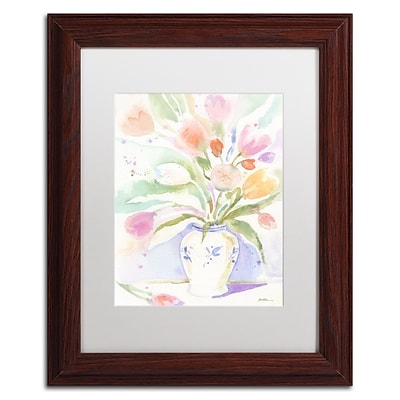 Trademark Fine Art The Vase of Tulips by Sheila Golden 11 x 14 White Matted Wood Frame (SG5739-W1114MF)