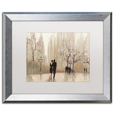 Trademark Fine Art An Evening Out Neutral by Julia Purinton 16 x 20 White Matted Silver Frame (WAP0111-S1620MF)