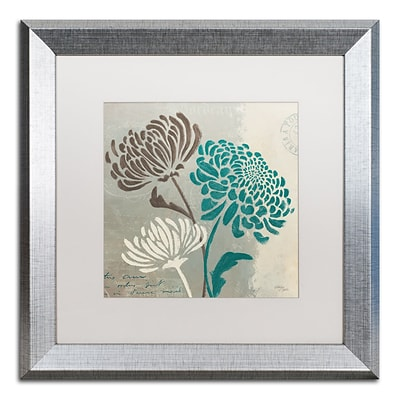 Trademark Fine Art Chrysanthemums II by Wellington Studio 16 x 16 White Matted Silver Frame (WAP0135-S1616MF)