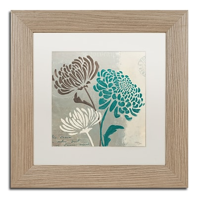 Trademark Fine Art Chrysanthemums II by Wellington Studio 11 x 11 White Matted Wood Frame (WAP0135-T1111MF)