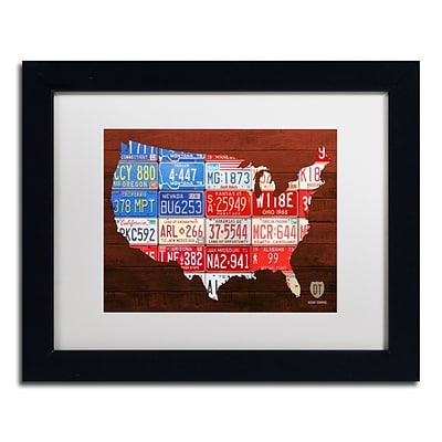 Trademark Fine Art USA Flag Map by Design Turnpike 11 x 14 White Matted Black Frame (ALI1244-B1114MF)