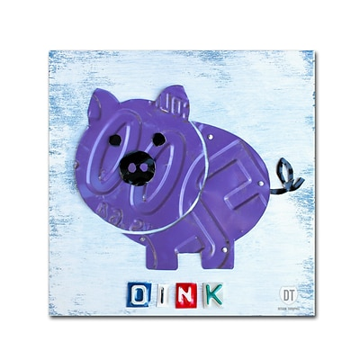 Trademark Fine Art Oink the Pig by Design Turnpike 24 x 24 Canvas Art (ALI1263-C2424GG)