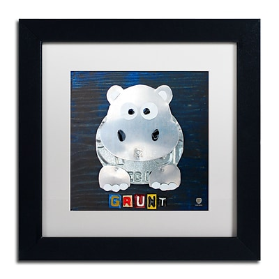 Trademark Fine Art Grunt The Hippo by Design Turnpike 11 x 11 White Matted Black Frame (ALI1279-B1111MF)